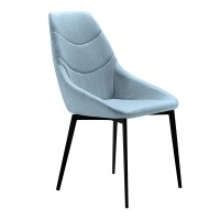 Castle Contemporary Dining Chair in Matte Black Finish and Blue Fabric - Set of 2