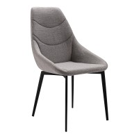Castle Contemporary Dining Chair in Matte Black Finish and Gray Fabric - Set of 2