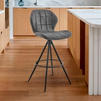 """Catalina 26"""" Counter Height Bar Stool in Charcoal Fabric and Black Finish"""