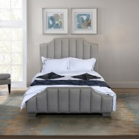 Armen Living Camelot Contemporary Queen Bed with Polished Stainless Steel and Gray Sheepwool