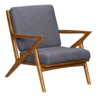Celtic Mid-Century Accent Chair in Champagne Finish and Dark Grey Fabric with Ash Wood