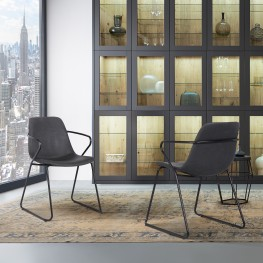 Colton Contemporary Dining Chair in Black Powder Coated Finish and Grey Faux Leather - Set of 2