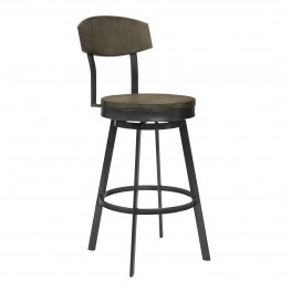 "Armen Living Conway 26"" Counter Height Barstool in Mineral Finish and Grey Walnut Seat"