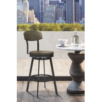 "Armen Living Conway 30"" Bar Height Barstool in Mineral Finish and Grey Walnut Seat"
