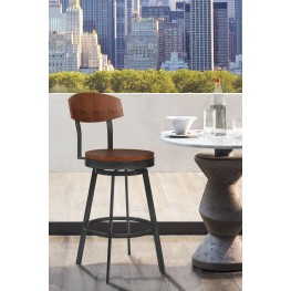 "Armen Living Conway 26"" Bar Height Barstool in Mineral Finish and Walnut Seat"