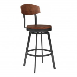 "Armen Living Conway 30"" Bar Height Barstool in Mineral Finish and Walnut Seat"