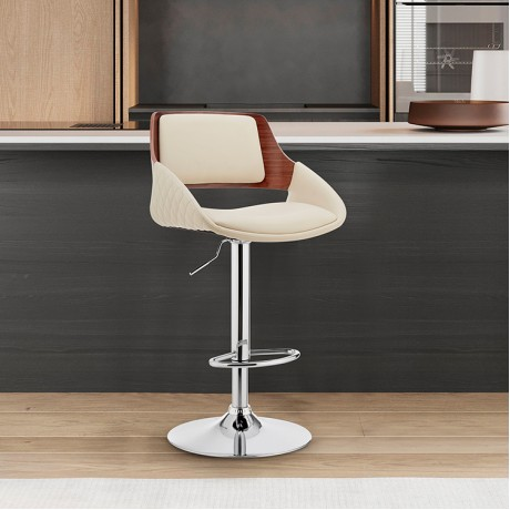 Colby Adjustable Cream Faux Leather and Chrome Finish Bar Stool