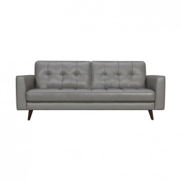 "Daeson 86"" Mid-Century Modern Grey Genuine Leather Square Arm Sofa"