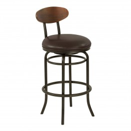 "Davis Mid-Century 26"" Counter Height Metal Swivel Barstool in Auburn Bay Finish with Ford Brown Leather and Sedona Wood Back"
