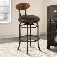 "Armen Living Davis Mid-Century 30"" Bar Height Metal Swivel Barstool in Auburn Bay Finish with Ford Brown Leather and Sedona Wood Back"