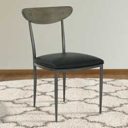 Davis Mid-Century Dining Chair in Mineral Finish with Vintage Black Faux Leather and Grey Walnut Wood Back - Set of 2