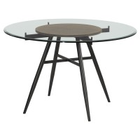 Armen Living Davis Contemporary Round Dining Table in Mineral Finish with Clear Tempered Glass Top
