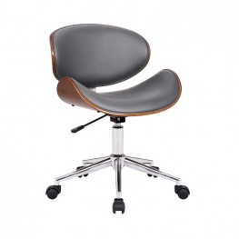 Daphne Modern Office Chair In Chrome Finish with Gray Faux Leather And Walnut Veneer Back