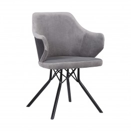 Darcie Contemporary Dining Chair in Black Powder Coated Finish with Grey Velvet and Black Brushed Wood Finish Back