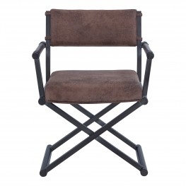 Director Contemporary Dining Chair in Mineral Finish and Bandero Tobacco Fabric
