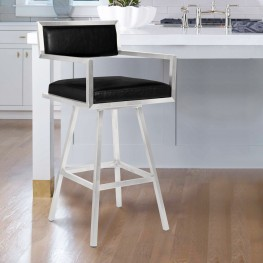 "Dylan 26"" Counter Height Barstool in Brushed Stainless Steel and Vintage Black Faux Leather"