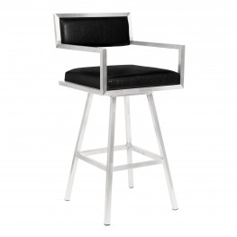 "Dylan 30"" Bar Height Barstool in Brushed Stainless Steel and Vintage Black Faux Leather"