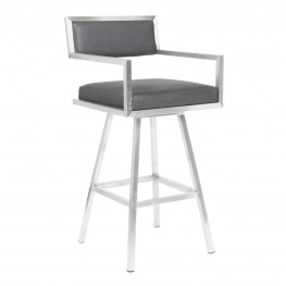 "Dylan 26"" Counter Height Barstool in Brushed Stainless Steel and Vintage Grey Faux Leather"