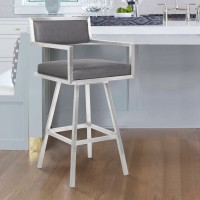 "Armen Living Dylan 26"" Counter Height Barstool in Brushed Stainless Steel and Vintage Grey Faux Leather"