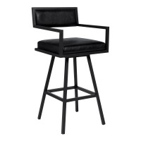"Armen Living Dylan 26"" Counter Height Barstool in a Black Powder Coated Finish and Vintage Black Faux Leather"