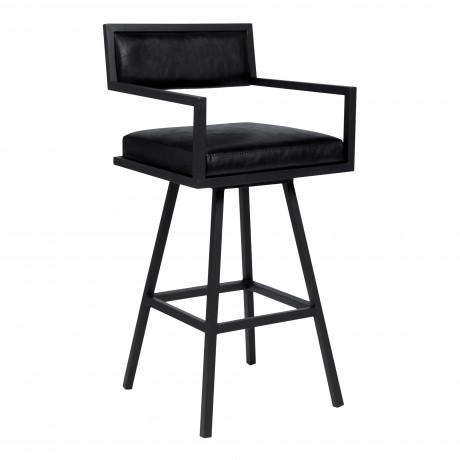 "Dylan 26"" Counter Height Barstool in a Black Powder Coated Finish and Vintage Black Faux Leather"