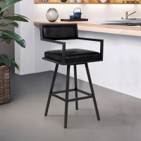 "Armen Living Dylan 30"" Bar Height Barstool in a Black Powder Coated Finish and Vintage Black Faux Leather"