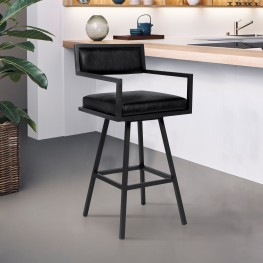 "Dylan 30"" Bar Height Barstool in a Black Powder Coated Finish and Vintage Black Faux Leather"