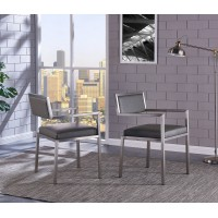 Dylan Contemporary Dining Chair Brushed Stainless Steel and Vintage Gray Faux Leather - Set of 2