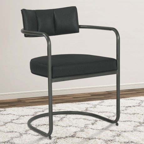 Denis Contemporary Metal Dining Chair in Mineral Finish with Vintage Black Faux Leather