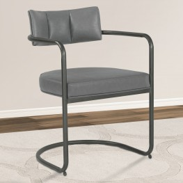 Denis Contemporary Metal Dining Chair in Mineral Finish with Vintage Grey Faux Leather