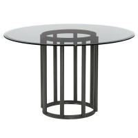 Armen Living Denis Contemporary Round Metal Dining Table in Mineral Finish with Clear Tempered Glass Top