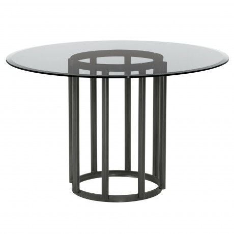 Denis Contemporary Round Metal Dining Table in Mineral Finish with Clear Tempered Glass Top