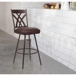 "Armen Living Dover 26"" Counter Height Barstool in Auburn Bay and Brown Faux Leather"