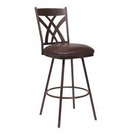 "Armen Living Dover 30"" Bar Height Barstool in Auburn Bay and Brown Faux Leather"