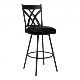 "Dover 26"" Counter Height Barstool in Matte Black Finish and Black Faux Leather"