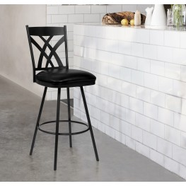 "Armen Living Dover 30"" Bar Height Barstool in Matte Black Finish and Black Faux Leather"
