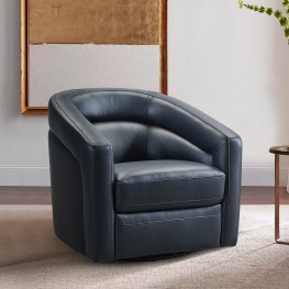 Desi Contemporary Swivel Accent Chair in Black Genuine Leather