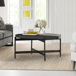 Dua Concrete and Metal Round Modern Coffee Table