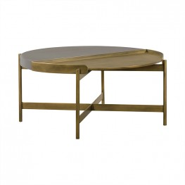 Dua Grey Concrete Coffee Table with Antique Brass