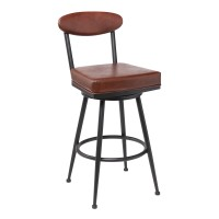 """Denver Contemporary 30"""" Bar Height Barstool in Black Finish and Vintage Coffee Faux Leather"""