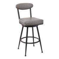 """Denver Contemporary 26"""" Counter Height Barstool in Black Finish and Vintage Grey Faux Leather"""