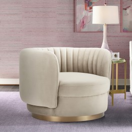 Davy Taupe Velvet Swivel Accent Chair with Gold Base