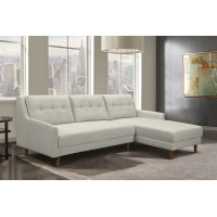 Divine Mid-Century Sectional in Champagne Finish and Beige Fabric with Rubber Wood