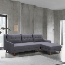 Divine Mid-Century Sectional in Champagne Finish and Dark Gray Fabric with Rubber Wood