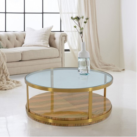 Hattie Glass Top Coffee Table with Brushed Gold Legs