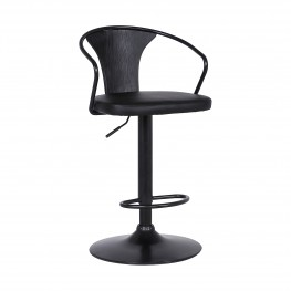 Eagle Contemporary Adjustable Barstool in Black Powder Coated Finish with Black Faux Leather and Black Brushed Wood Finish Back
