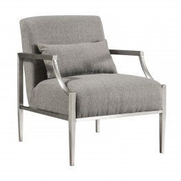 Armen Living Essence Contemporary Accent Chair in Polished Stainless Steel Finish and Grey Fabric