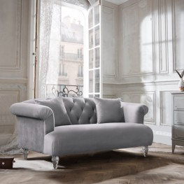 Armen Living Elegance Contemporary Loveseat in Grey Velvet with Acrylic Legs