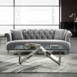 Armen Living Elegance Contemporary Sofa in Grey Velvet with Acrylic Legs