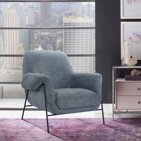 Elie Contemporary Accent Chair in Black Metal Finish and Pewter Fabric